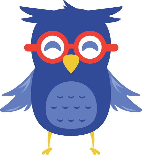 what appears to be a blue owl wearing red glasses
