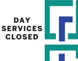 Text saying Day services closed with half SEEC logo